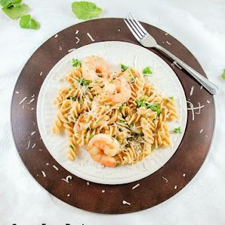 Super Easy Pasta and Shrimp with a Lemony Garlic Sauce.