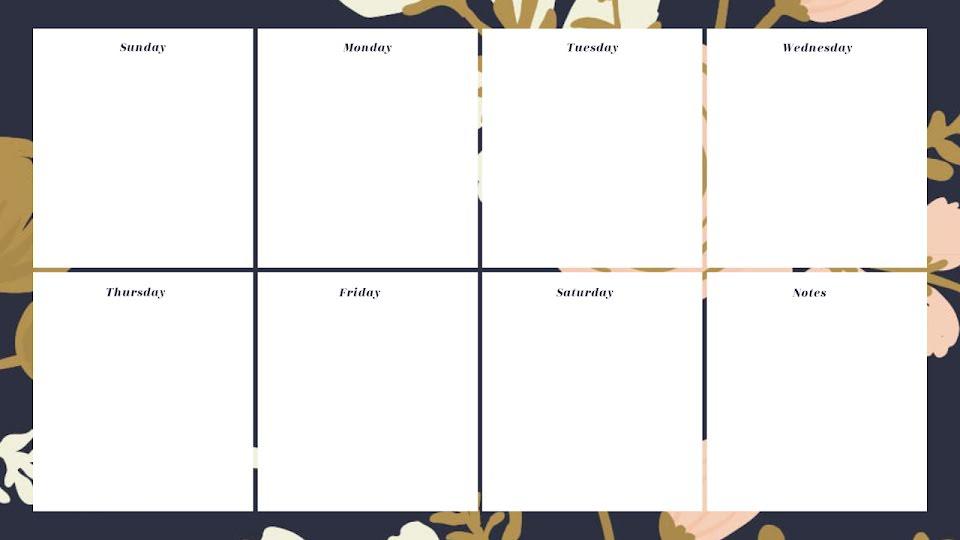 Botanic Weekly - Calendar Template