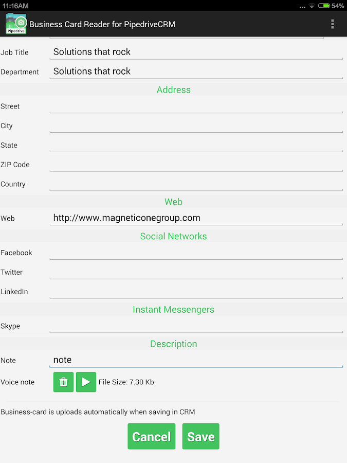 Business Card Reader for Pipedrive CRM- screenshot