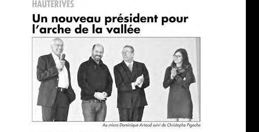 article paru dans l'impartial : un nouveau président pour l'arche de la vallée