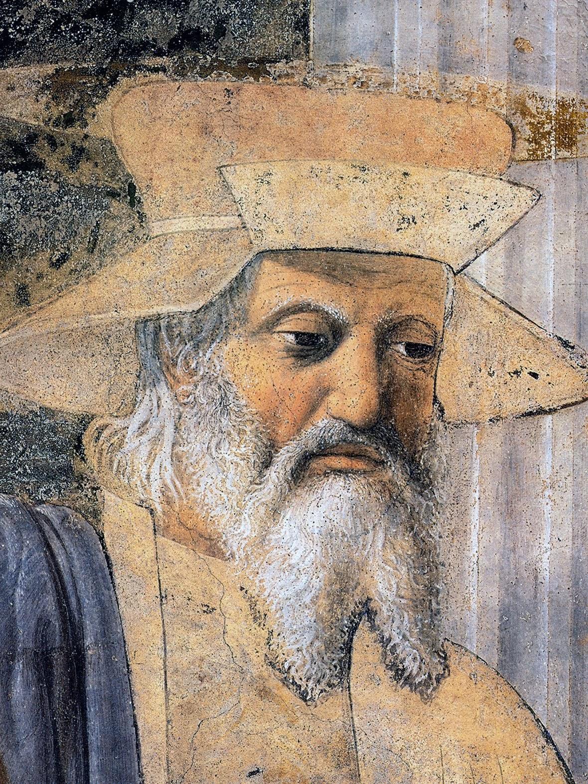 Piero della Francesca, Sigismondo Pandolfo Malatesta in preghiera davanti a san Sigismondo, 1451, particolare Sigismondo Pandolfo Malatesta, Tempio Malatestiano, Rimini
