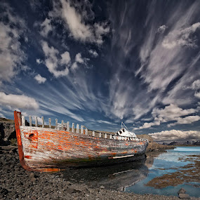 Resting there by Þorsteinn H. Ingibergsson - Transportation Boats ( clouds, iceland, sky, nature, ship, wreck, structor, landscape )