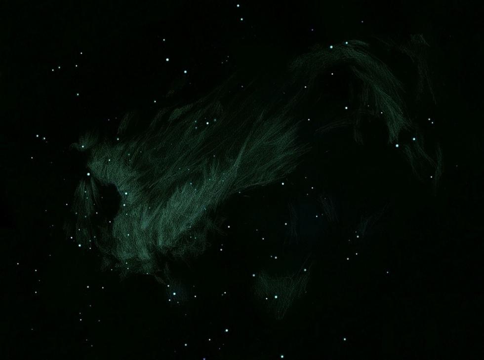 Photo: M17, le 5 juillet 2011 à Ste Gemme. T406 à 88X, 175X et OIII. 4 heures de dessin. La teinte verte a bien été vue sur la nébuleuse, après un léger éblouissement. Elle est due au filtre OIII.