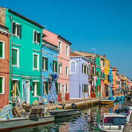 by Mario Horvat - City,  Street & Park  Historic Districts ( parking, touristic, italia, boats, burano, architecture, travel, canal, italy )