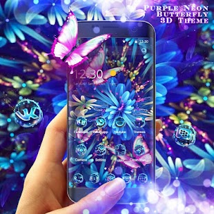 Purple Neon Butterfly 3D Theme - náhled