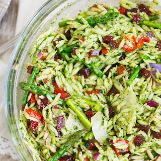 Arugula Spinach Pesto Orzo Salad