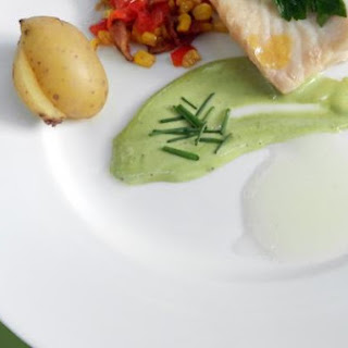 Poached Grouper with Lemon Gel and Basil Aioli.
