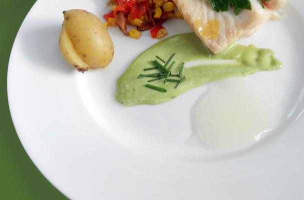 Poached Grouper with Lemon Gel and Basil Aioli