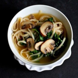 30-Minute Rice Noodle Soup with Mushrooms & Kale Recipe {Vegetarian}.
