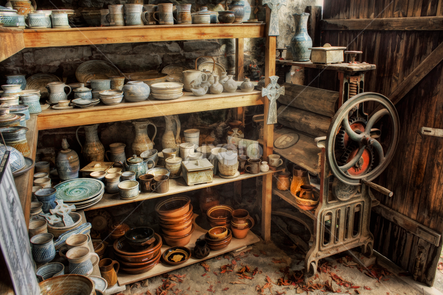 Tweaked n Antiqued by Ian Mitchell - Artistic Objects Cups, Plates & Utensils ( north wales, colourful, seasons, autumn, wales, mangle, pottery, pots, leaves, antiques )