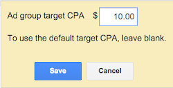 Edit ad group target CPA