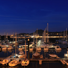 boats in the night by Elton Whittaker - Transportation Boats (  )
