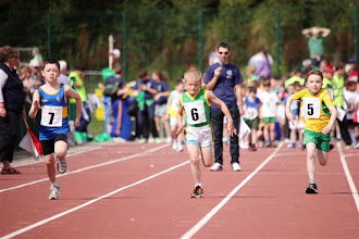 Photo: Cillian Mc Donagh in action in the Boys U/8 60m