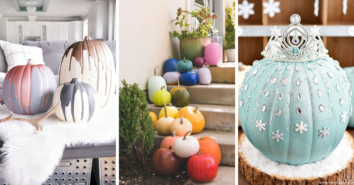 Collage of painted pumpkins