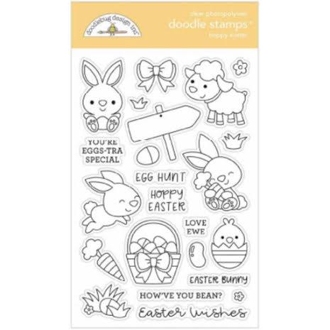 Doodlebug Clear Doodle Stamps - Hoppy Easter
