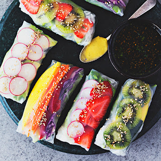 RAINBOW SPRING ROLLS WITH Mango, BASIL & LIME TAhini CREAM + GINGER & SESAME SOY SAUCE