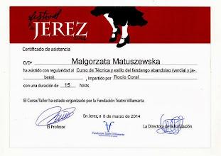 Photo: 2014r. kurs techniki i stylu Fandango Abandolao (verdial y jabera) prof. Rocio Coral; poziom średniozaawansowany (15 godzin); XVIII Festival de Jerez