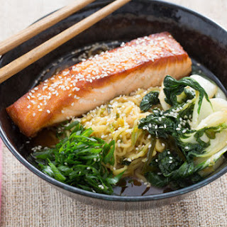 Pan-Roasted Salmon with Spicy Miso Broth & Wakame.