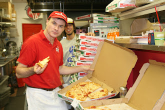 Photo: We sample our pizzas hourly.  I love my job!