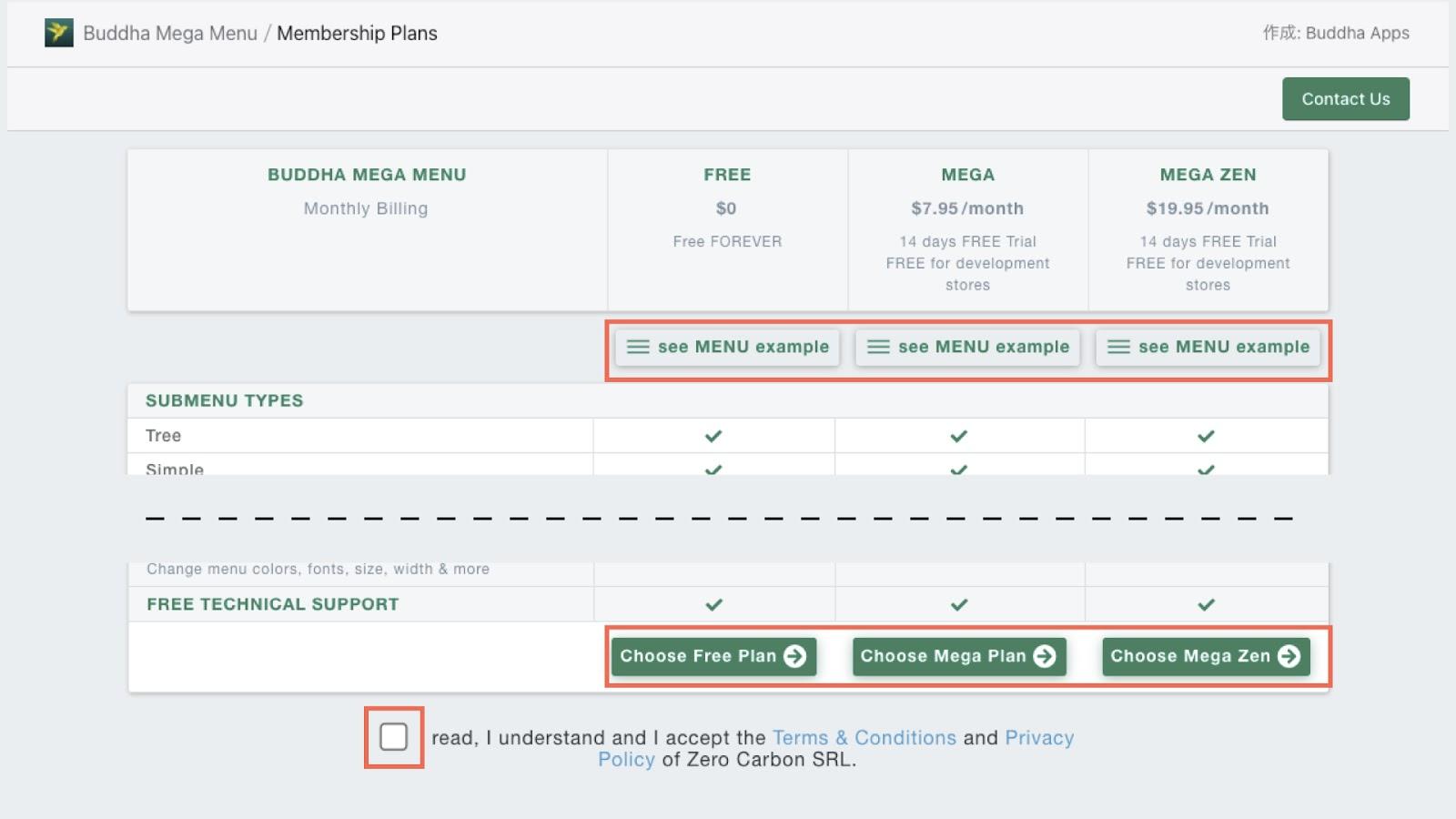 インストールが完了したら、プランを選択します。画面上部にある「see MENU example」から各プランのサンプルサイトを確認することができます。画面を下にスクロールし、利用規約にチェックを入れてプランを選択します。