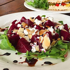 Red beet salad with Gluten Free Toast...