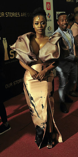 Nomzamo Mbatha's outfit failed the red-carpet test at the Saftas in Sun City.
