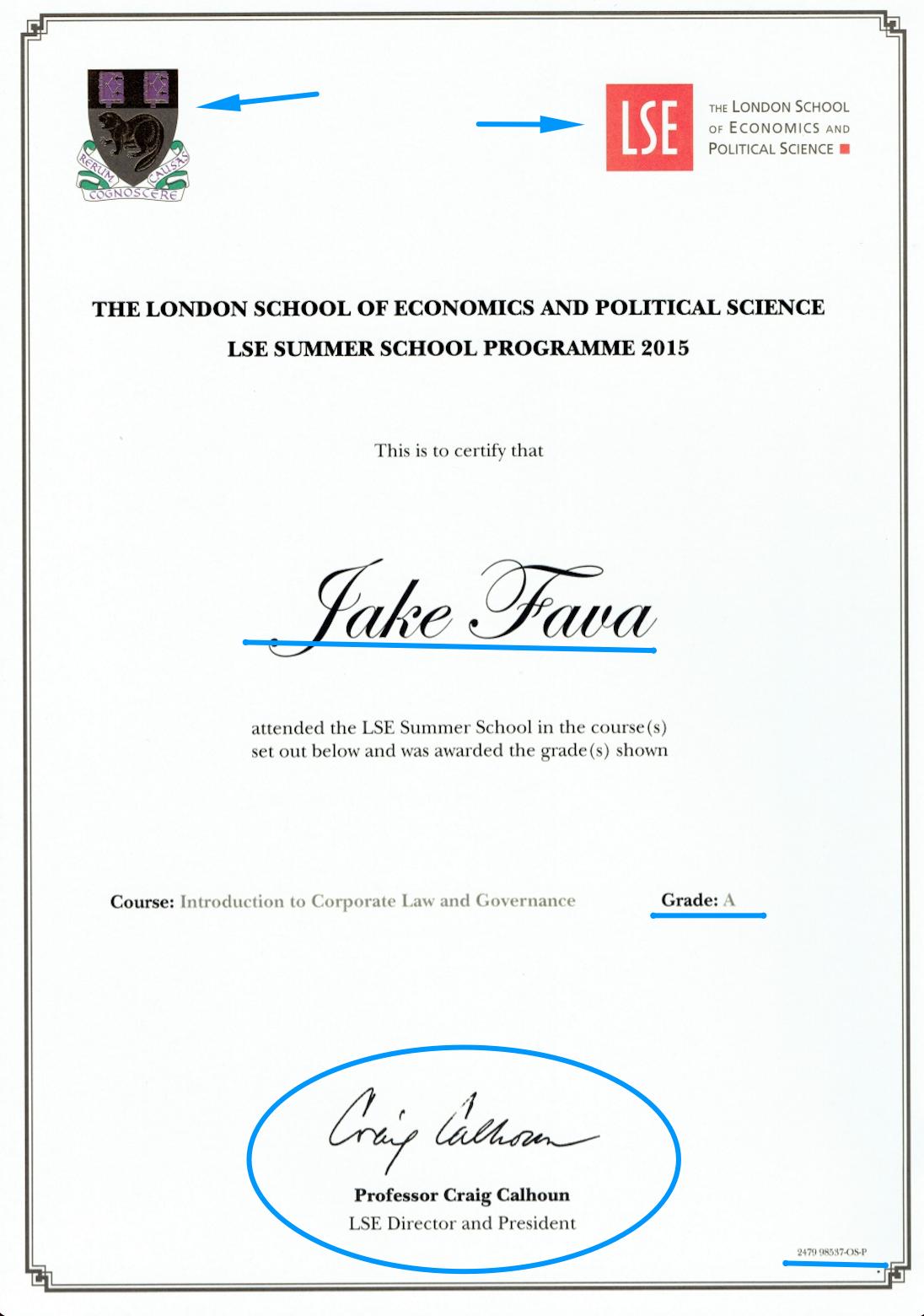 LSE certificate template