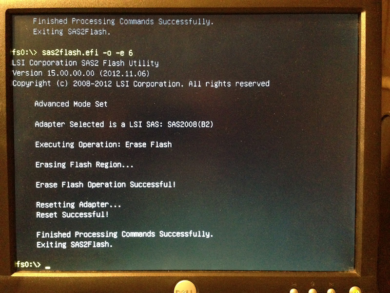 Photo: The first step is to remove the old firmware. DO NOT REBOOT after doing this. You must upgrade the flash before rebooting. Failure will mean a bricked card.