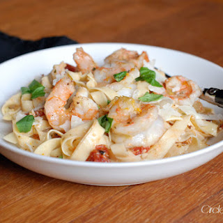 Fettuccine with Sweet and Spicy Honey-Orange Shrimp.