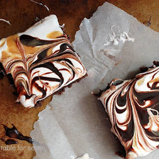 Chocolate & Caramel Marshmallow Fluff Brownies.