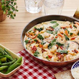 Creamy low-carb Tuscan shrimp.