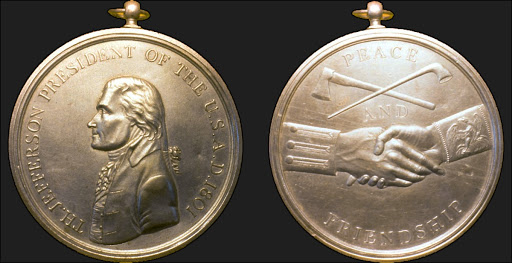 Jefferson Indian peace medal (obverse and reverse)