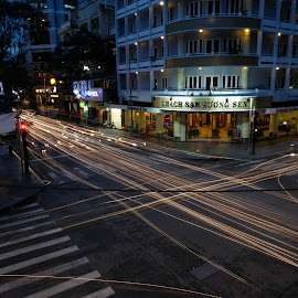 Flying lights by Beh Heng Long - City,  Street & Park  Night ( streets )