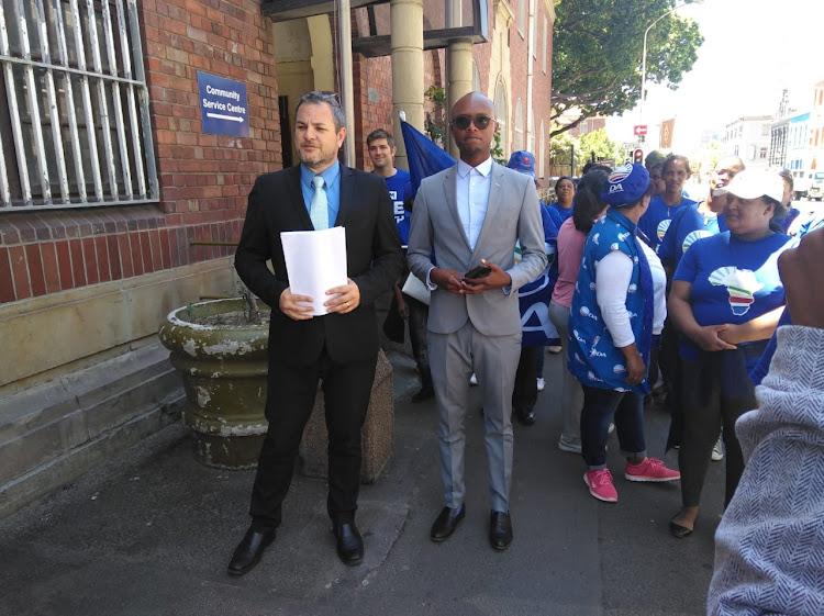 DA MP Kevin Mileham and party spokesman Solly Malatsi at the Cape Town police station. Mileham opened a criminal case against the EFF and its leader Julius Malema on Thursday, November 22, 2018