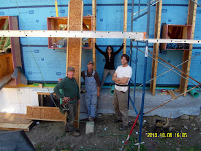 Photo: Brab demonstrates the size of our DPC wall cavities.