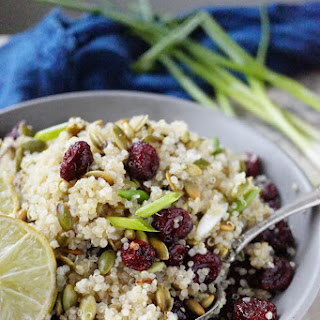 Quinoa,Cranberry and Roasted Pumpkin Seed Salad.