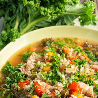 Turkey, Kale, and Cauliflower Soup