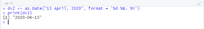 This image shows how to use the %B in as.Date() function.