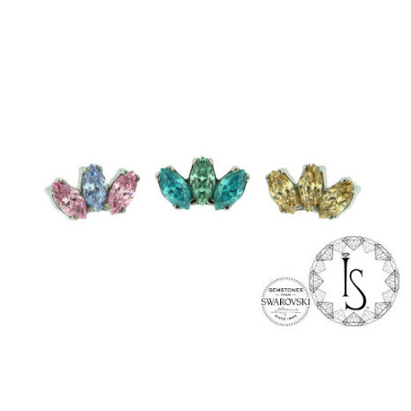 """Odyssey """"Marquis"""" Faceted Gem end, Push fit"""