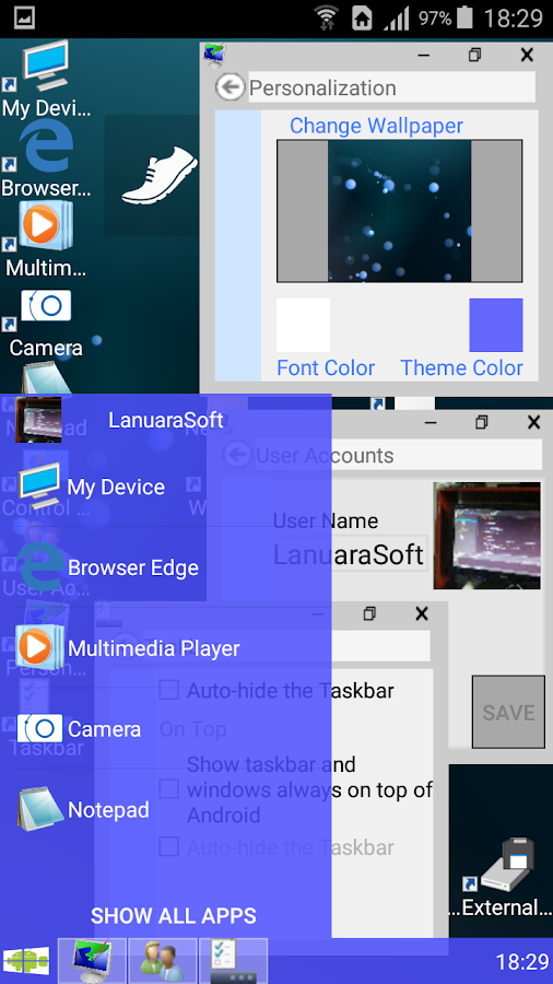 Windroid Launcher (Free)- screenshot