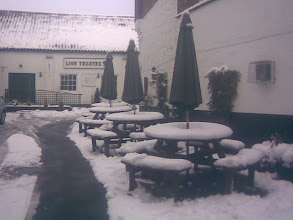 Photo: The Red Lion yard not getting alot of use - the theatre at the rear. The 3rd snow of 2013, with complete melt inbetween each flurry.