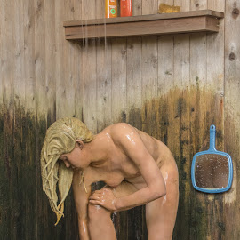 Employee Shower by Carole Feuerman Employee Shower by Carole Feuerman  by Judy Florio - Artistic Objects Other Objects ( shower, grounds for sculpture, art, realistic, sculpture, nude )
