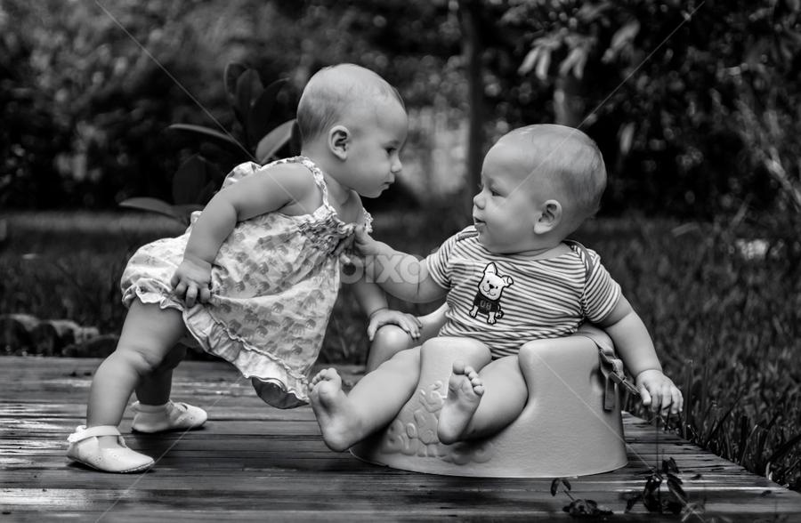 Where Is My Milk? by Nemanja Stanisic - Babies & Children Babies ( babies, black and white, children, pwcsummerfun, kids, twins, b&w, portrait, people, city, photography,  )