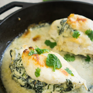 Spinach and Cheese Stuffed Chicken Breast.
