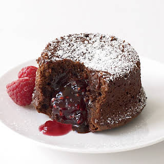 Molten Chocolate Cake with Raspberry Filling.