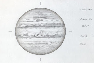 Photo: Jupiter le 5 avril 2016, T406 à 350X depuis Ste Gemme. Excellent seeing.