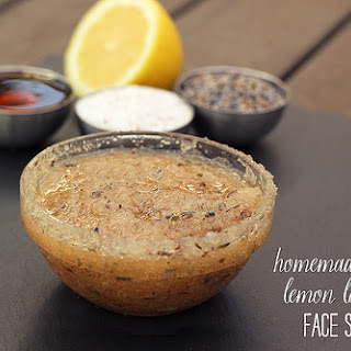 Homemade Honey Lemon Lavender Face Scrub.
