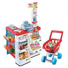 Set de joaca supermarket cu lumini si sunete, 82 cm, 24 accesorii