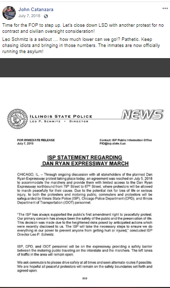 Facebook post by Catanzara with screenshot of Illinois State Police statement on the Dan Ryan Expressway March
