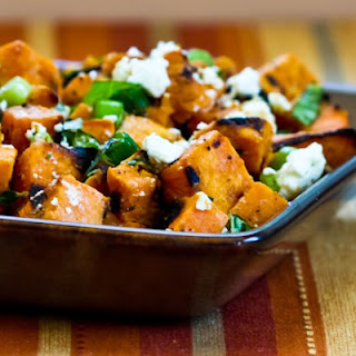 Grilled Sweet Potato Salad with Green Onion, Basil, Thyme, and Feta.